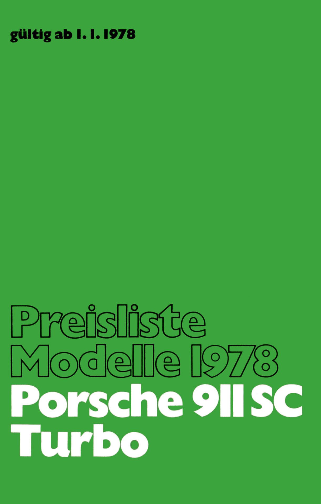 Porsche 911 SC turbo price list 1978